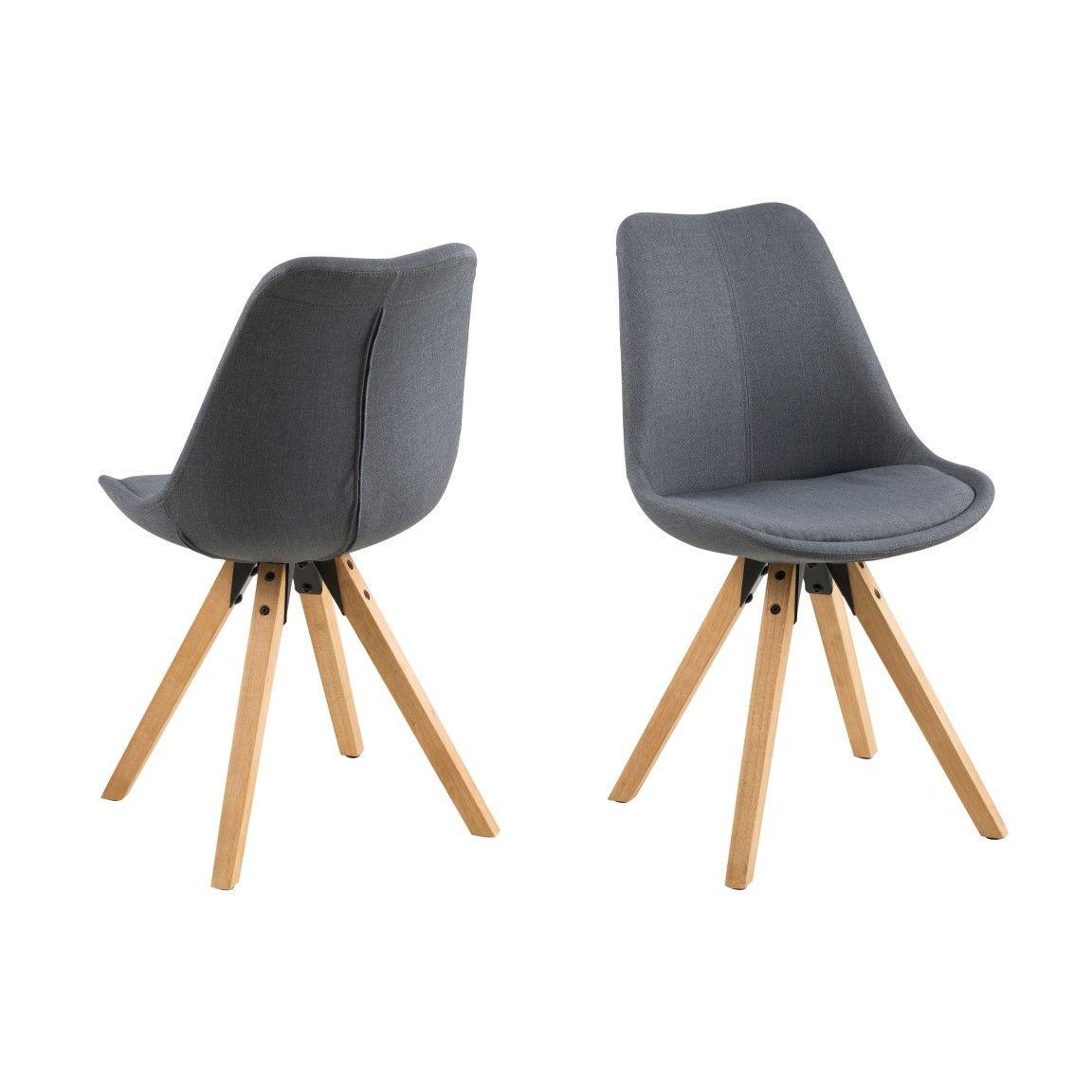 Stühle Nida | 2er-Set | Anthrazit & Holz