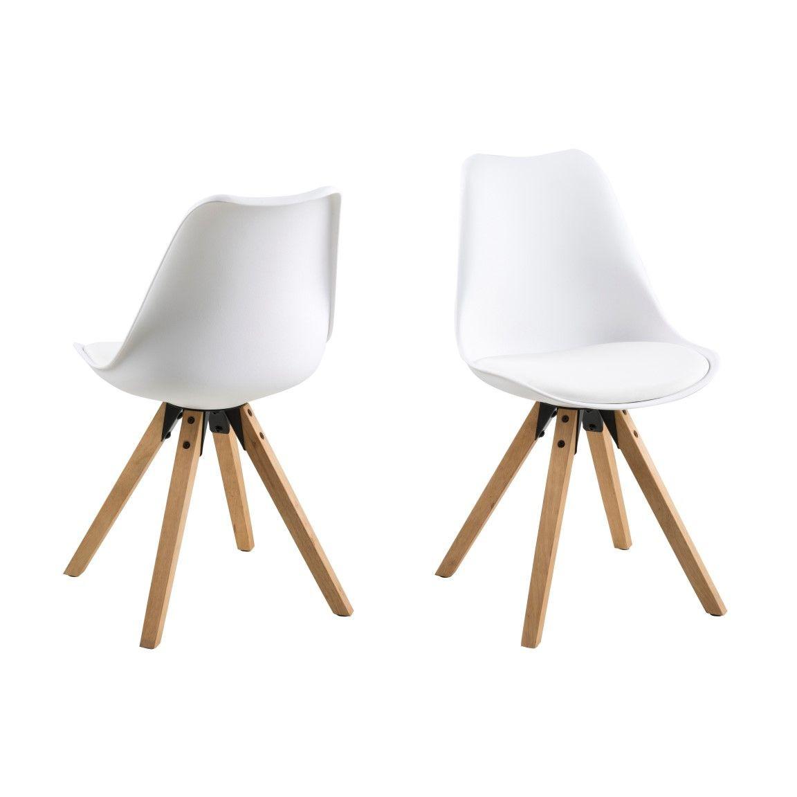 Set of 2 Chairs Nida | White + White Cushion