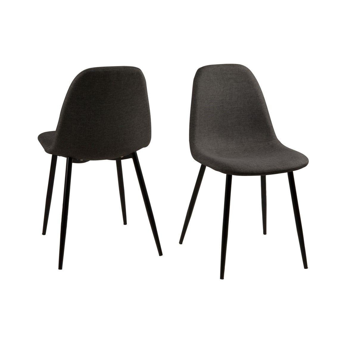 Set of 4 Chairs Wendy   Grey/Black