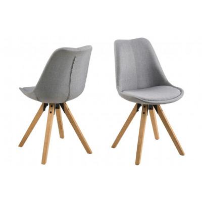 Stühle Nida | 2er-Set | Grau & Holz