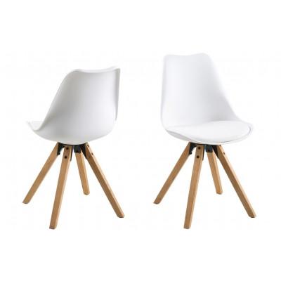 Stühle Nida 2er-Set | Weiß + Weißes Kissen