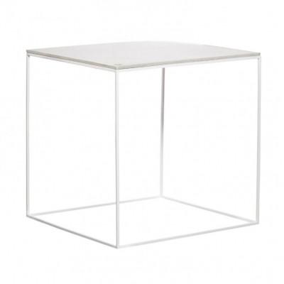 MoonSquare Beistelltisch   Weißer Stahlrahmen / Weiße Tischplatte
