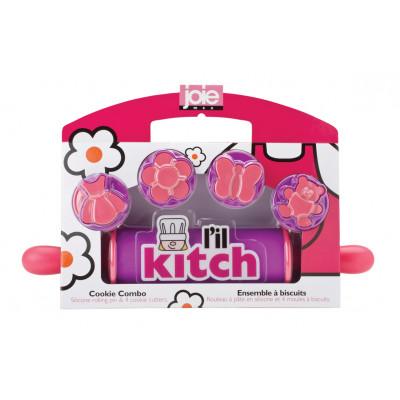 Kinder-Rollholz mit 4 Ausstechformen | Rosa
