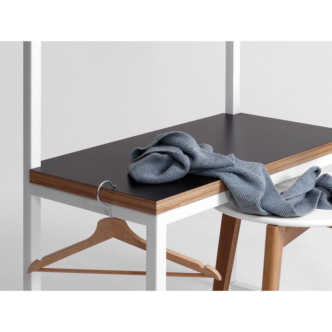 Kleiderständer mit Bank Next 75 | Schwarz-Weiß