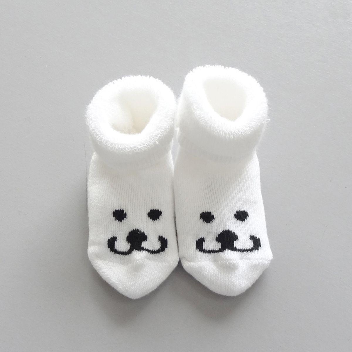 Newborn Socks Smile   White