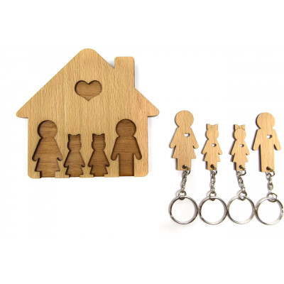 Keyholder with Set of Keychains   Family with 2 Daughters