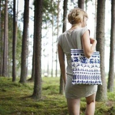 Canvas Bag White/Blue