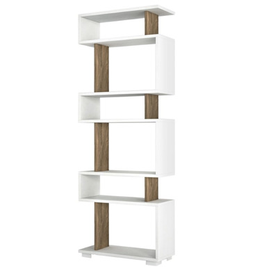 Bücherregal Blok | Weiß Walnuss