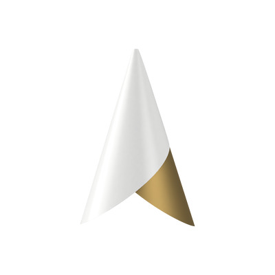 Hängelampenschirm Kornett   Weiß-Messing