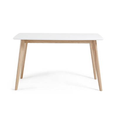 Tischeinheit   140 x 80 cm Weiß lackierte massive Hartholzbeine