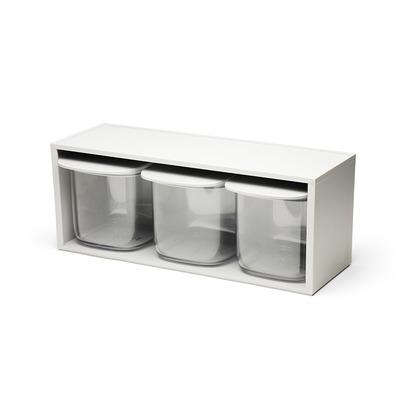 Flat Top Storage Jar Drawer Rack | Clear-Grey