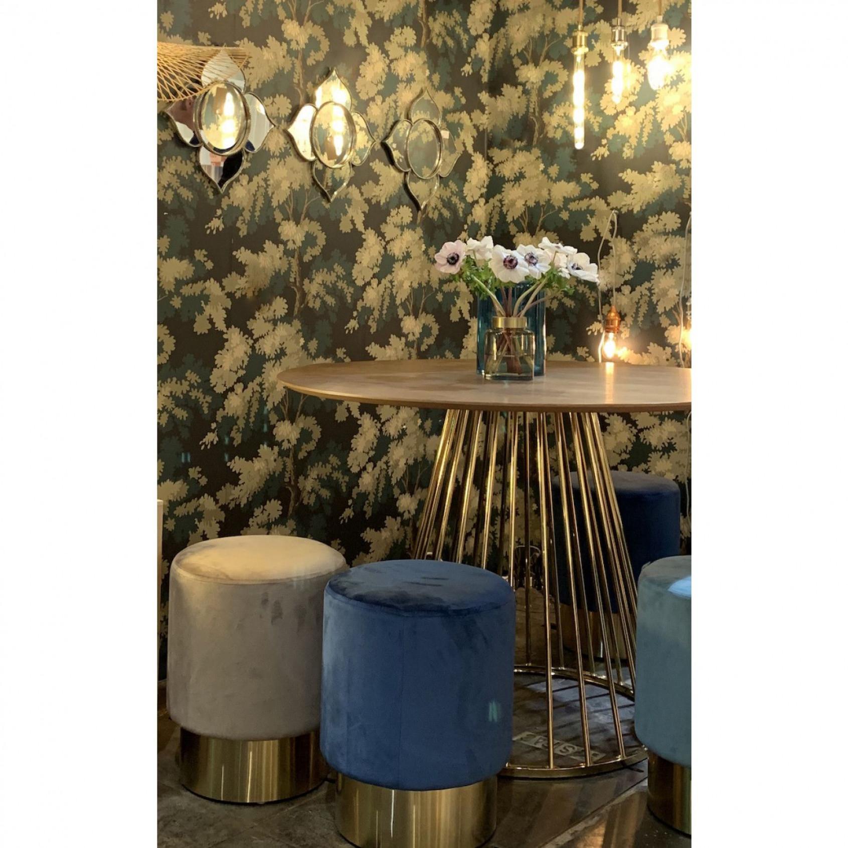 Side Table Romane   Walnut & Gold