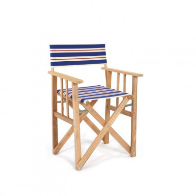 Director Chair | Blue/Natural/Red Canvas