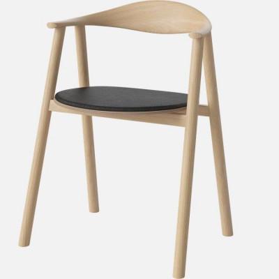 Swing Dining Chair | Schwarzes Leder / Eiche weiß geölt