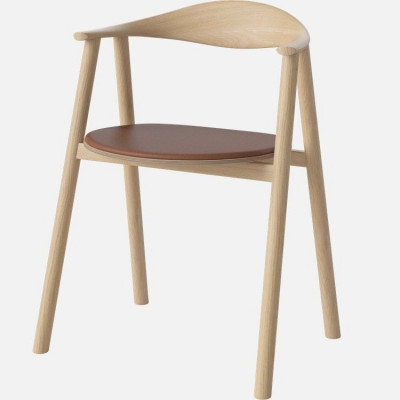 Swing Dining Chair | Cognac-Leder / Eiche weiß geölt