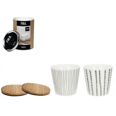 Giftset Mug & Coasters Fika 200 ml | Set of 4