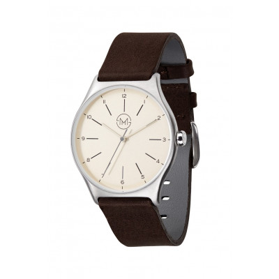 Slim Made One 03   Silver Case, Creme Dial, Dark Brown Leather