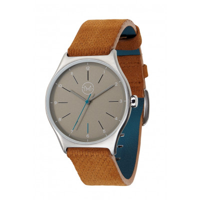 Slim Made One 04   Silver Case, Grey Dial, Brown Leather