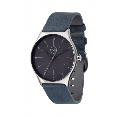 Slim Made One 05   Silver Case, Black Dial, Anthracite Leather