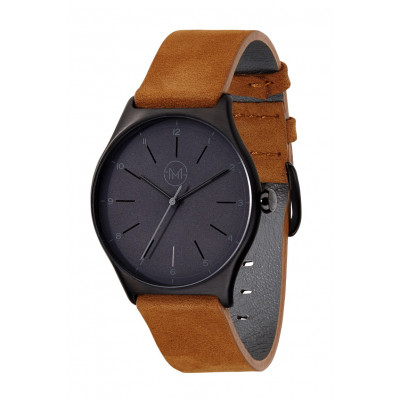Slim Made One 06   Black Case, Black Dial, Brown Leather