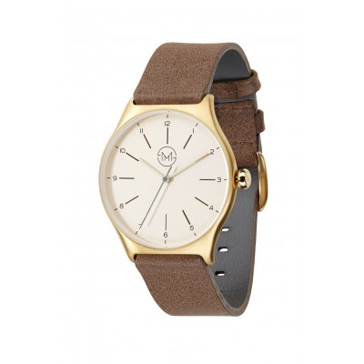 Slim Made One 09   Gold Case, Gold Dial, Brown Leather