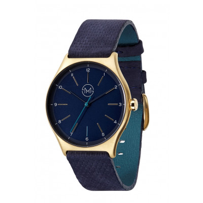 Slim Made One 10   Gold Case, Blue Dial, Blue Leather