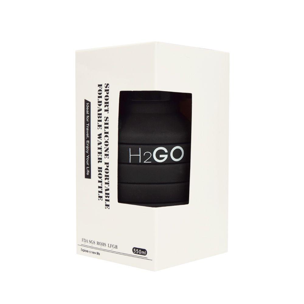 Zusammenklappbare Wasserflasche H2O | Schwarz