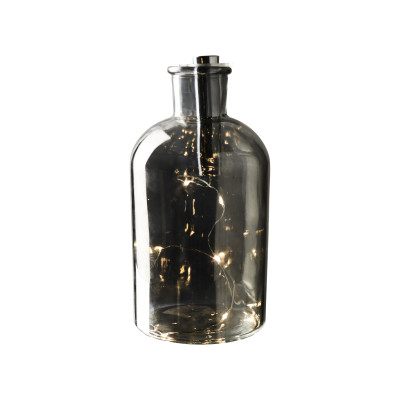 Decorative LED Light Bottle ø 10 x 20 cm   Silver