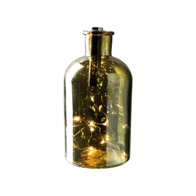 Decorative LED Light Bottle ø 10 x 20 cm | Gold