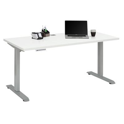Adjustable Computer Desk | Platinum Grey Metal and White Matt