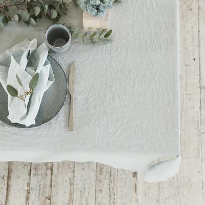 Steingewaschene Tischdecke | Eisblau