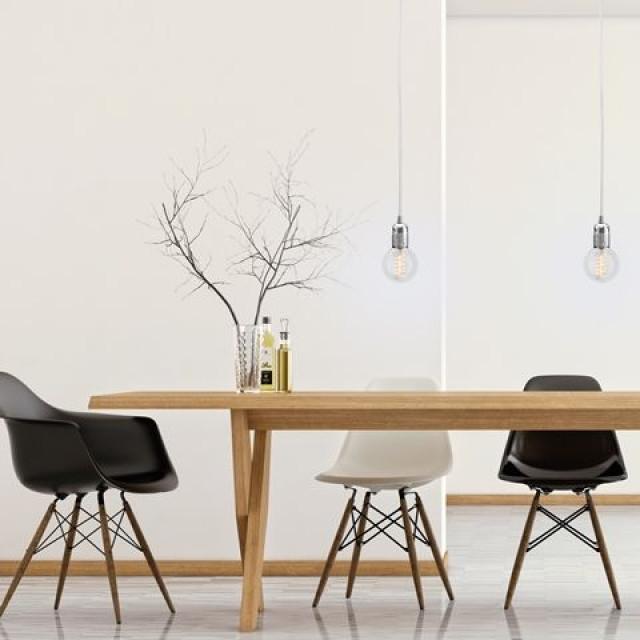 UNO S_1 Lamp | Silver Lampholder, White Power Cord, Silver Hardware