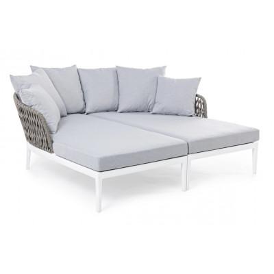 Outdoor-Sofa mit Kissen Pelikan   Weiße & graue Kissen