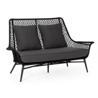 Outdoor-2er-Sofa mit Kissen Cristobal   Schwarz