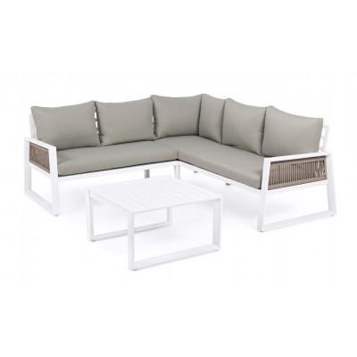 Outdoor-Sitzecke + Beistelltisch Captiva   Rahmen in Hellgrau & Weiß