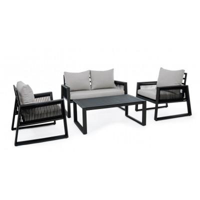 Lounge-Set Captiva   Hellgrauer & schwarzer Rahmen