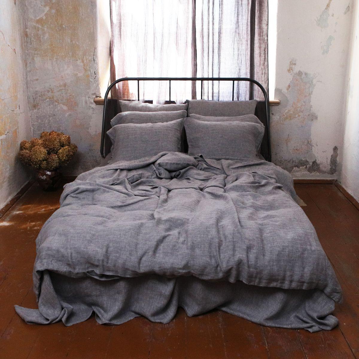Stone Washed Herringbone Duvet | Grey