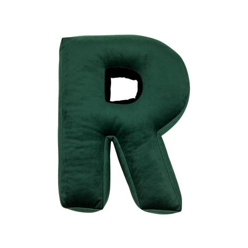 Buchstabenkissen Samt Grün | R