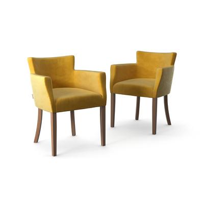 2-er Set Stühle Santal Samt Touch | Braune Beine & Gelb