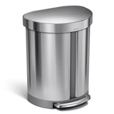 Abfalleimer Halbrund   55 L   Silber