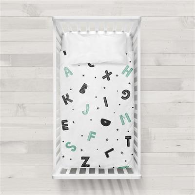MaxiCrib Bettbezug Alphabet I Weiß 115x145 + 40x60 cm