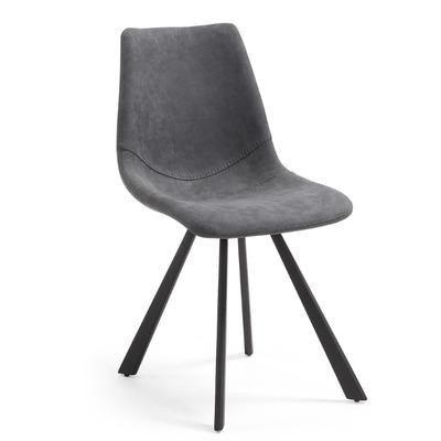 Stuhl Andi   Graphit und Stahl mit schwarzer Oberfläche