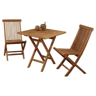 Set of 2 Chairs & 1 Square Table   Teak