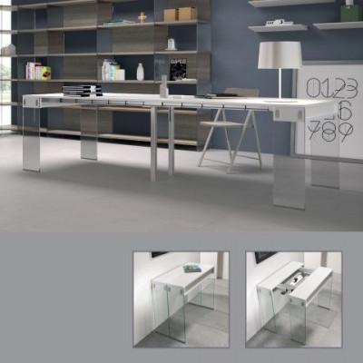 Stadttisch mit 5 Erweiterungen | Weiß, Weiß & Glas