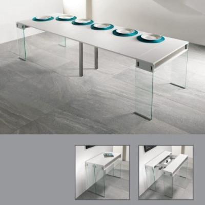 Stadttisch mit 5 Erweiterungen | Weiß, taubengrau & Glas