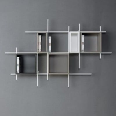 Libra Bookcase COMP35 | Sandblasted White, Sandblasted Dove Grey & Sandblasted Ardesia