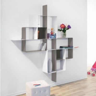 Mondrian Bookcase COMP5 | Sandblasted Dove Grey (22) & Ardesia & Sandblasted White (25)