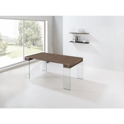 Stadttisch mit 5 Erweiterungen | Nussbaum, Nussbaum und Glas