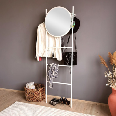 Standspiegel mit Garderobe A901 | Weiß