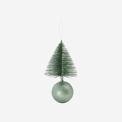 4er-Set Ornamenten Baum & Uhr | Grün